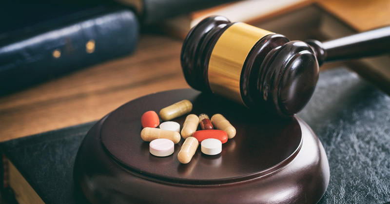 Drugs with judge's gavel